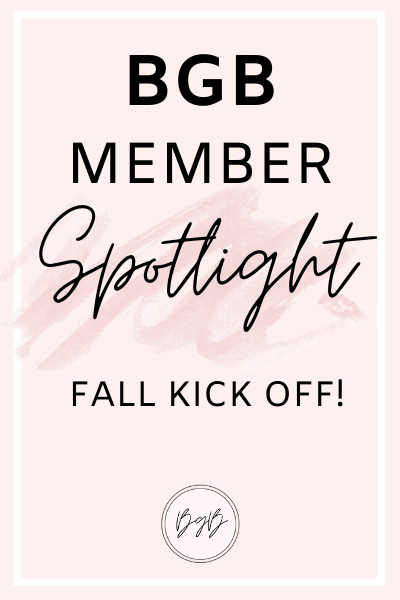 BGB member spotlight - fall kick off